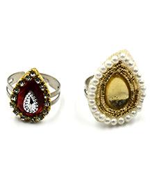 Magic Needles Stones & Pearls Ring Set - Red & Golden