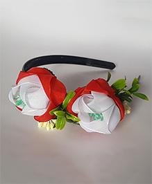 Soulfulsaai Ribbon Flowers Garden Hairband - Red & White