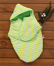 Morisons Baby Dreams Hooded Swaddle Stripes Print - Green