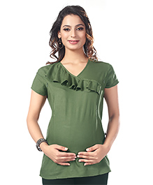 Kriti Short Sleeves Maternity Top Frill Design - Olive Green