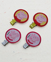 D'Chica Set Of 4 Peppa Pig Hair Clips - Yellow Pink & White
