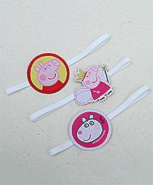 D'Chica Set Of Three Peppa Pig Hair Ties - Pink & White