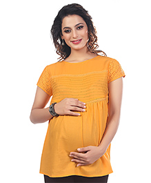 Kriti Short Sleeves Solid Maternity Nursing Top  - Mustard Yellow