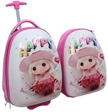 Fab N Funky - Egg Shape Trolley Bag and Backpack Set