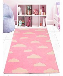 Saral Home Microfibre Carpet Clouds Print - Pink