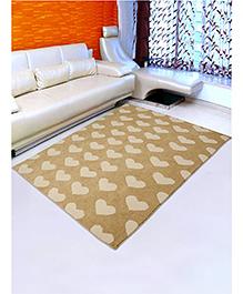 Saral Home Microfiber Floor Carpet Hearts Print - Cream Brown