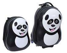 Fab N Funky - Panda Design Trolley Bag and Backpack Set