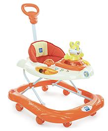 Mee Mee Musical Baby Walker With Parent Push Handle - Orange
