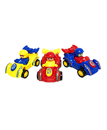 Emob Mini Racing Speed Friction Power Toy Cars Pack Of 3 - Yellow Red Blue