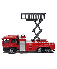 Emob Classic Fire Engine Die Cast Pull Back Truck Toy With Light And Sound - Red