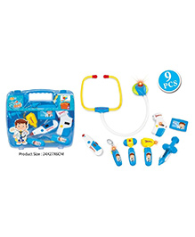 Toys Bhoomi Doctor's Mini Medical Suitcase Set With Stethoscope Blue - 9 Pieces