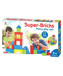 Toys Bhoomi Jumbo Super Bricks Building Blocks Multicolour - 17 Pieces