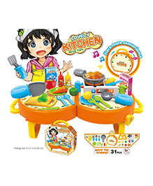 Toys Bhoomi Junior Chef Dining Table Kitchen Suitcase Set Pack Of 31 Pieces - Multiciolour
