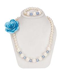 Daizy Pearl & Beads Necklace & Bracelet - White & Blue