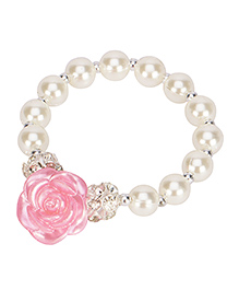 Daizy Pearl & Flower Bracelet - Light Pink & White