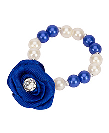 Daizy Pearl Bracelet With Satin Flower - Blue