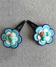 Kalacaree Pair Of Flower Hair Clips - Blue