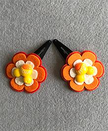 Kalacaree Pair Of Flower Hair Clips - Orange