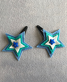 Kalacaree Pair Of Star Design Hair Clips - Blue