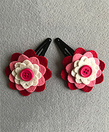 Kalacaree Pair Of Button Theme Hair Clips - Pink