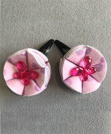 Kalacaree Pair Of Flower Fly Theme Hair Clips - Pink