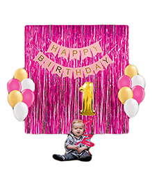 Party Propz 1st Birthday Decoration Set Pink - 29 Pieces