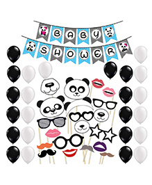 Party Propz Baby Shower Banner Photo-Booth And Balloon Combo Panda Theme - Black White