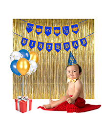 Party Propz Half Birthday Party Decoration Combo - Golden Blue