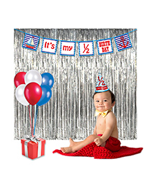 Party Propz Half Birthday Party Decoration Combo - Blue Silver