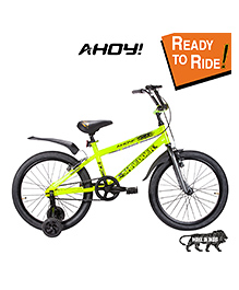 AHOY Bicycle With Training Wheels Neon Green - 16 Inches