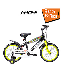 Ahoy Bicycle With Training Wheels Neon Green Black - 16 Inches