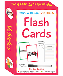 Art Factory Wipe & Clean Flash Cards Vehicles Theme Multi Color - Pack Of 30