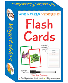 Art Factory Wipe & Clean Flash Cards Vegetables Theme Multi Color - Pack Of 30