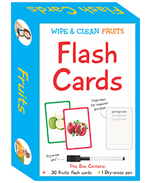 Art Factory Wipe & Clean Flash Cards Fruits Theme Multi Color - Pack Of 30