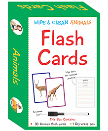 Art Factory Wipe & Clean Flash Cards Animals Theme Multi Color - Pack Of 30