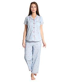 Piu Front Open Strawberry Print Sleepwear Shirt & Pyjama - Blue