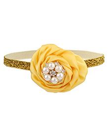 Baby Angel Pearl Flower Elastic Headband - Yellow