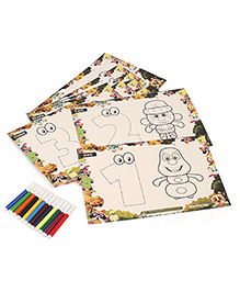 Smartivity Let's Learn 123 Magic Colouring Sheet With Colors - Multi Color