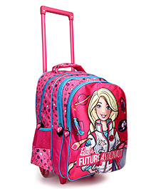 Barbie Flap Theme Trolley School Bag Pink - Height 16 Inches