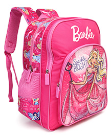 Barbie With Wand School Bag Pink - Height 16 Inches