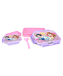 Disney Princess Slim Lunch Box With Fork - Pink & Purple