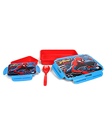 Marvel Spider Man Lunch Box With Fork & Spoon - Red Blue