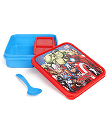 Marvel Avengers Slim Lunch Box With Spoon - Blue & Red