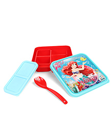Disney Princess Ariel  Lunch Box With Fork & Spoon - Red Green