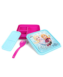 Disney Frozen Lunch Box With Fork & Spoon - Green Pink