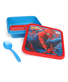 Marvel Spiderman Slim Lunch Box With Fork Spoon - Red & Blue