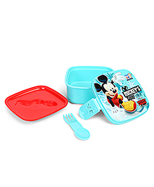 Disney Mickey Mouse Lunch Box With 2 In 1 Fork & Spoon - Green