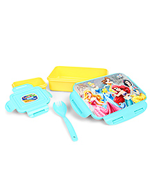 Disney Princess Lunch Box With Clip Lock - Yellow Blue