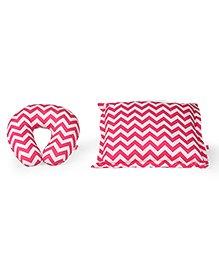Babyhug Rectangle Supporter & Rectangular Pillow Set Chevron Print - Pink