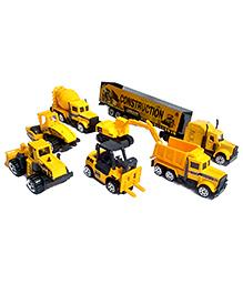 Emob Mini Die Cast Metal Engineering Construction Vehicle Trucks Toys Play Set Yellow - 7 Pieces